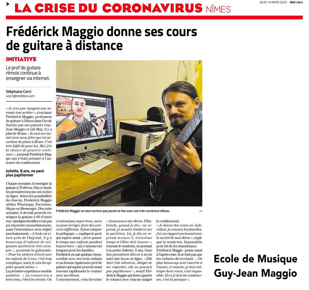 Article Midi-Libre sur les cours en visioconférence durant la crise sanitaire.